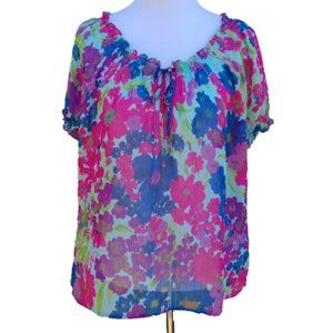 Old Navy| Blouse Floral Print Blue Pink Bright